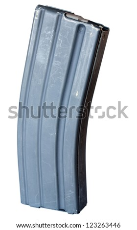 Magazine designed for the AR 15 that can hold thirty rounds - stock photo