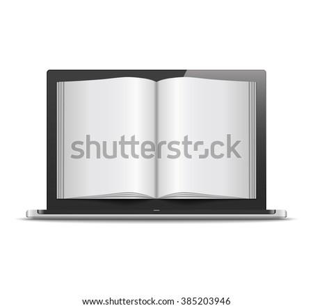 Magazine in laptop - stock photo