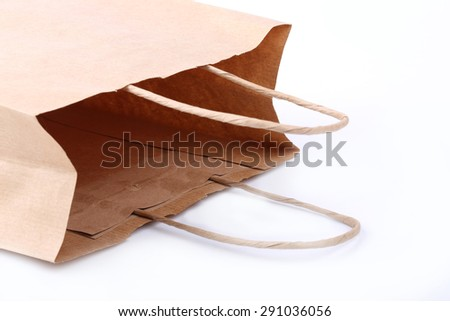 magazine paper shopping bag isolated on a white background