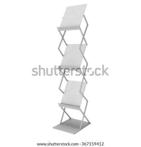 Magazine Rack. Trade show booth brochure display stand for magazines white and blank. 3d render isolated on white background. High Resolution. Ad template for your design. - stock photo