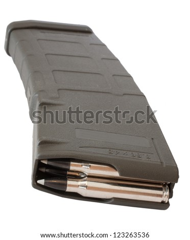 Magazine that is made to hold thirty rounds in an assault rifle - stock photo