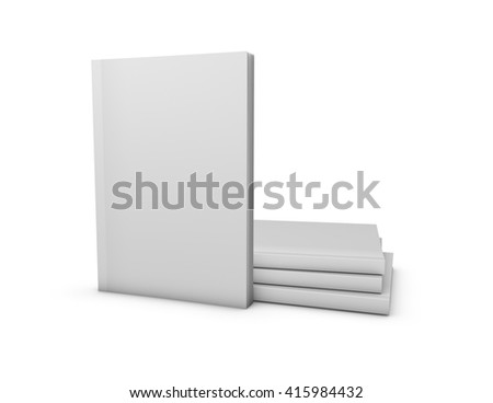 Magazines blank cover mock up template isolated on white background, 3D illustration. - stock photo