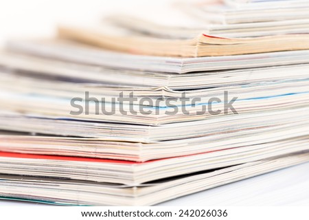 magazines pages up close shot on white background - stock photo
