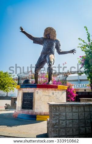MAGDALENA, COLOMBIA - FEBRUARY 20, 2015: Statue of famous former football player Pibe Valderrama in the caribbean city of Santa Marta - stock photo