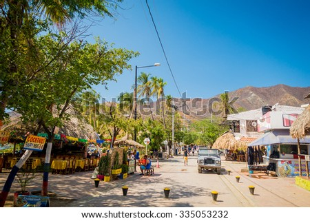 MAGDALENA, COLOMBIA - FEBRUARY 20, 2015: Streets in Taganga beach in Santa Marta, Colombia