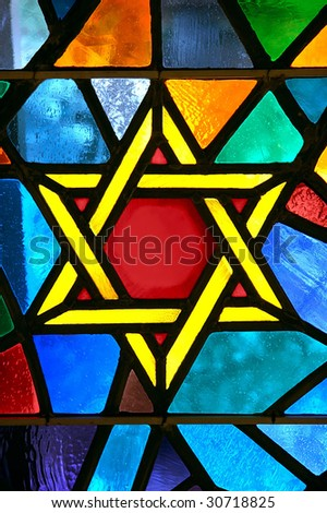 Magen David star glass painting at synagogue