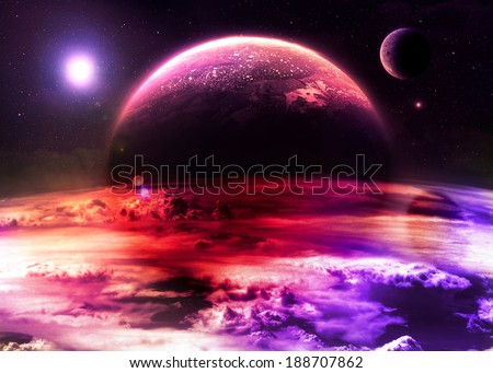 Magenta Alien World - Elements of this image furnished by NASA - stock photo