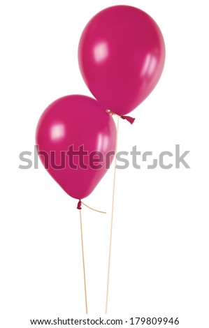 Magenta balloons isolated on white  - stock photo