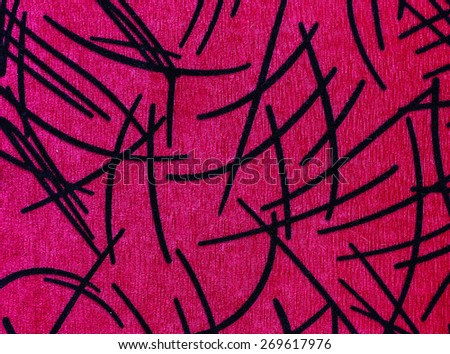Magenta carpet decorated with black stripes. - stock photo