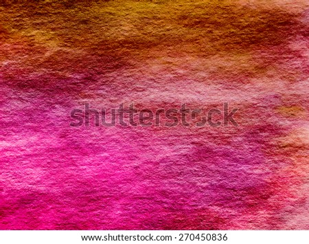 Magenta Hot Pink Yellow Umbre Watercolor Paper Background Texture Pattern Overlay - stock photo