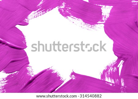Magenta pink painted frame on white background - stock photo