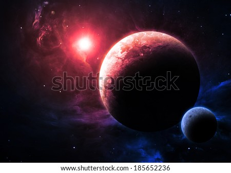 Magenta Planet and Moon - Elements of this image furnished by NASA