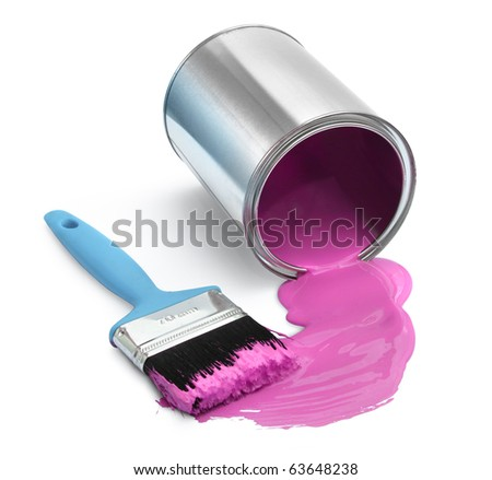Magenta red paint tin can fallen with blue brush on white background isolated - stock photo