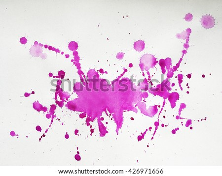 Magenta watercolour abstract drops, marks and stains - stock photo