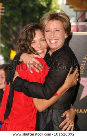 Maggie Gyllenhaal, Emma Thompson  at the induction ceremony for Emma Thompson into the Hollywood Walk of Fame, Hollywood, CA. 08-06-10