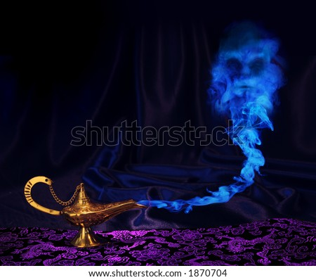 magic Aladdin genie lamp with genie arising from blue smoke - stock photo
