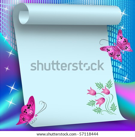 Magic background with butterflies and a place for text or photoÑ? Raster version of vector. - stock photo