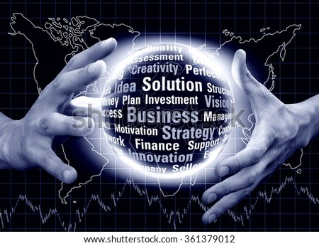 Magic ball in hands on the background map of the world. Business concept. Monochrome in blue tones image - stock photo