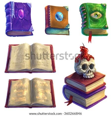 Magic Books Set - stock photo