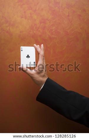 Magic card trick - stock photo