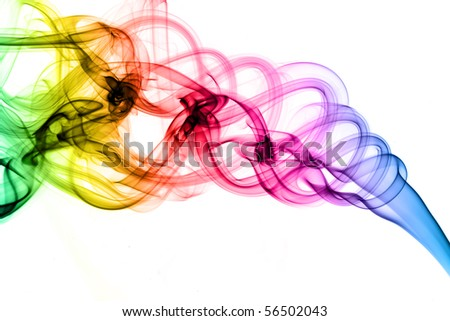 Magic colored fume shapes over the white background - stock photo