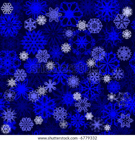 Magic 3D snowflakes, seamless wallpaper. Vector version - in my portfolio - stock photo