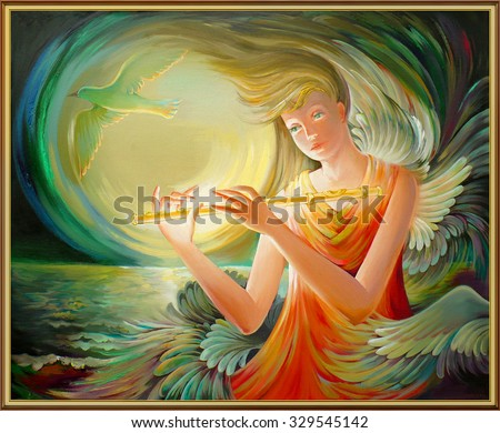 Magic dream. Oil painting on canvas. - stock photo