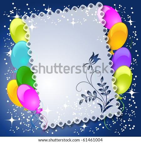Magic floral background with balloons and a place for text or photo. Raster version of vector. - stock photo