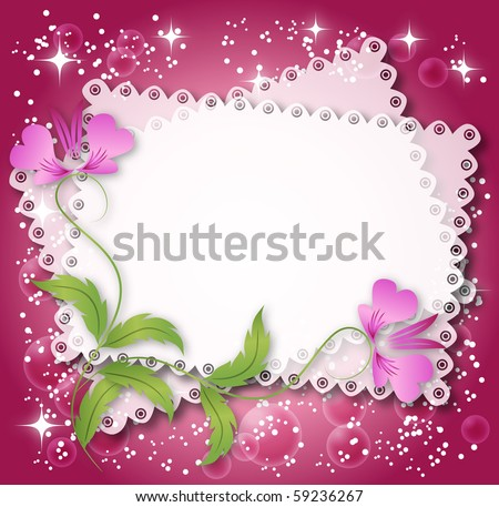 Magic floral background with stars and a place for text or photo. Raster version of vector. - stock photo