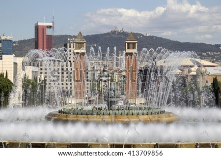 Magic Fountain on the steps to the National Art Museum of Catalonia in Barcelona, Spain - stock photo