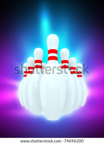 Magic glowing Ten bowling pins - stock photo