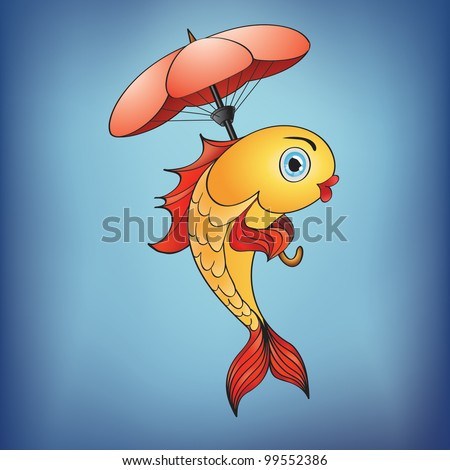 Magic golden fish with umbrella in blue water