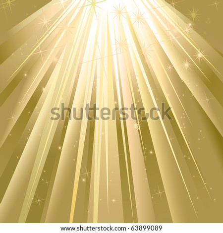 Magic Golden Light With Space For Text - stock photo
