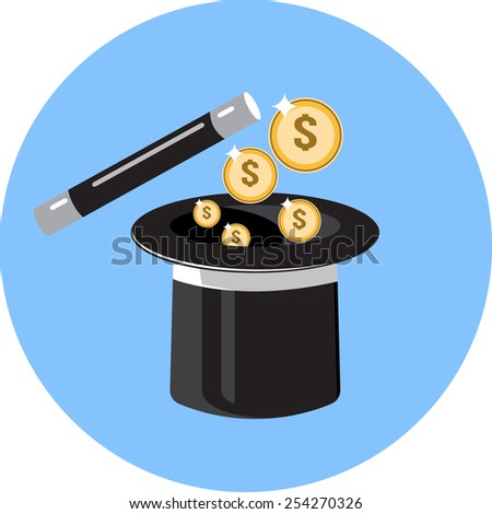 Magic Hat and Gold Coins  - stock photo