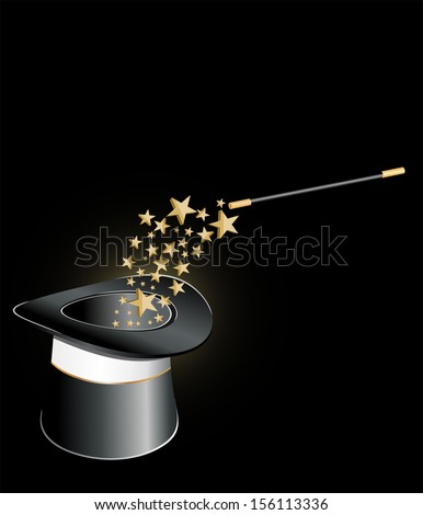 Magic hat and wand with stars.  - stock photo