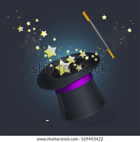 Magic hat  on black - stock photo