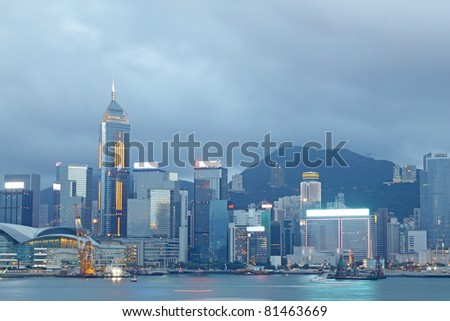 Magic hour of Victoria harbour, Hong Kong - stock photo