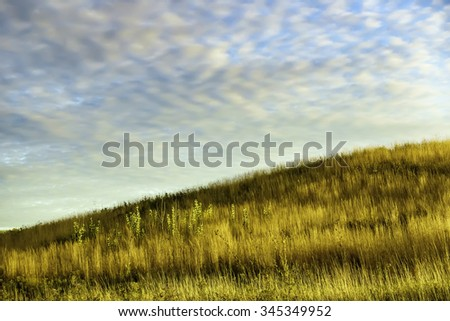 Magic hour on a fall afternoon: Hillside with tall grass and other prairie plants in swathes of light and shadow, with pattern of high clouds glowing softly in blue sky, near sunset in mid October - stock photo