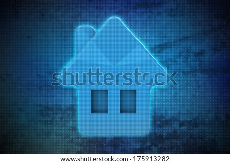 magic house on blue shiny pixel grid screen modern technology illustration