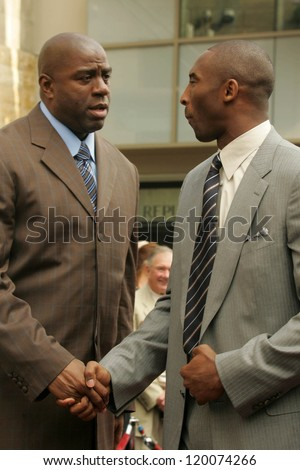 Magic Johnson and Kobe Bryant at the Ceremony Honoring Los Angeles Lakers Owner Jerry Buss with the 2,323rd star on the Hollywood Walk of Fame. Hollywood Boulevard, Hollywood, CA. 10-30-06 - stock photo