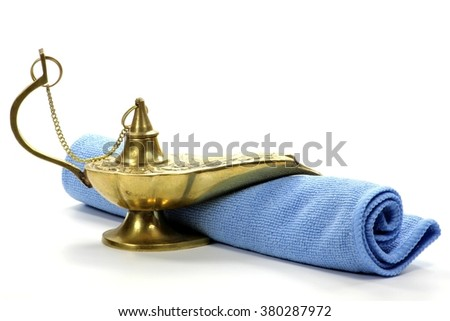 magic lamp isolated on white background - stock photo