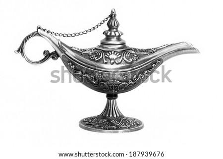 Magic lamp of Aladdin, isolated - stock photo