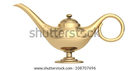 magic lamp on a white background - stock photo