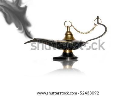 magic lamp with black smoke - stock photo
