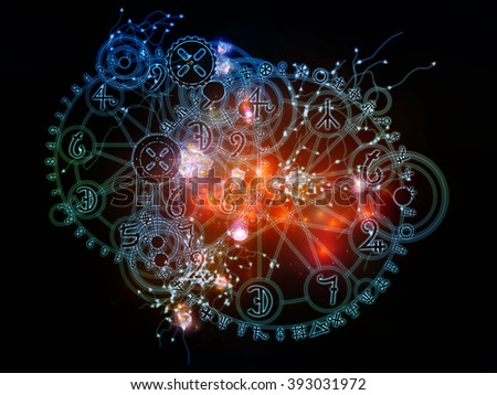Magic Math series. Creative arrangement of lights, strands and symbolic clusters on subject of astrology and magic