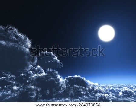 Magic moon in the night sky - stock photo
