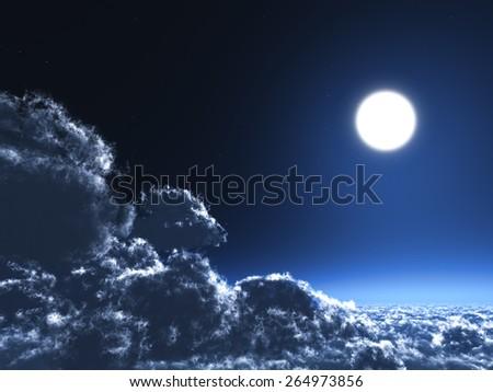 Magic moon in the night sky - stock photo