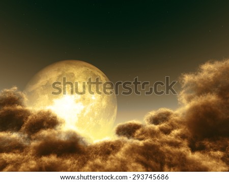 Magic moon in the night sky. Elements of this image furnished by NASA - stock photo