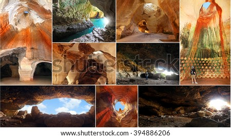 Magic nature caves and grottos of geological and historical National parks, Israel. ( Tel Maresha, Rosh Hanikra, Tzora) - stock photo