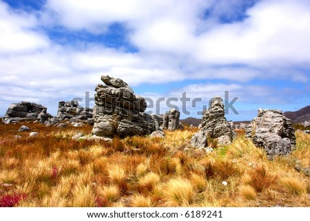Magic rocks, skies, yellow grass - mountain landscape. Shot in Hottentots-Holland Mountains nature reserve, near Grabouw, Western Cape, South Africa. - stock photo